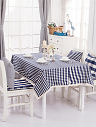 Blue Plaid Lacy Design  Jacquard  Tablecloths Fabric Tea Tablecloth