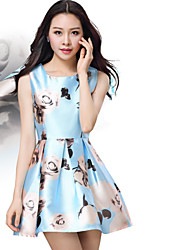 Luxury Women's Silky Pearl Fabric Printing Sweet Princess Casual Round Neck Sleeveless Dress