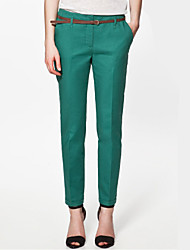 Women's Solid Black / Green / Khaki Straight Pants , Casual