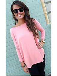 DUIQI Women's Solid Color Blue / Pink Tops & Blouses , Vintage / Sexy / Party / Work Round Long Sleeve