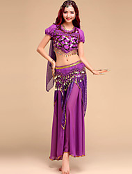 Belly Dance Outfits Women's Performance Chiffon Sequins 4 Pieces Top&Skirt&Waist belt&Head veil