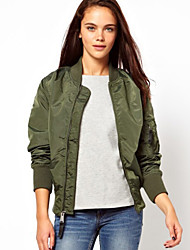 Women's Fashion Solid Black / Green Jackets , Casual Round Neck Long Sleeve