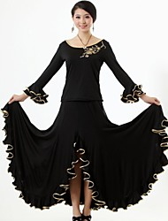 Ballroom Dance Outfits Women's Performance Milk Fiber Ruffles 2 Pieces Long Sleeve Skirt / TopTop length S-XXL : 50 cm Skirt length S-XXL
