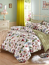 Flower Pattern Cotton Bedding Set Of 4pcs Four Seasons Use