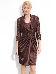 Sheath/Column Mother of the Bride Dress - Chocolate Knee-length Taffeta