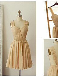 Knee-length Chiffon Bridesmaid Dress - Champagne A-line Straps
