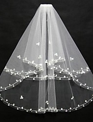 Bridal Wedding Veil White/Ivory Two-tier Fingertip Veils Beaded/Shell  Edge With Comb