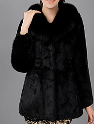 Women's Solid Color Black Coats & Jackets , Casual / Party V-Neck Long Sleeve Imitation of rabbit hair Plus size