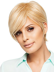 Carefree Short Straight Hand Tied Top Human Virgin Remy Female Capless Hair Wigs