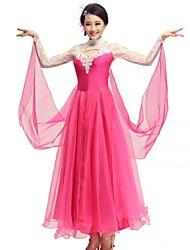 Dança de Salão Vestidos Mulheres Actuação Elastano Poliéster Renda 1 Peça Vestido
