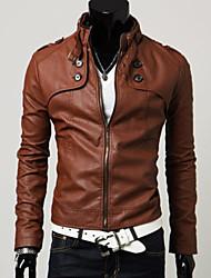 Men Stand Collar Slim Leisure Long Sleeve Jacket  Top , Belt Not Included