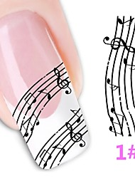 10 Pcs Music Note Pattern Water Transfer Nail Stickers