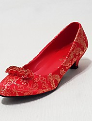 Women's Spring / Summer / Fall / Winter Heels / Basic Pump Silk Wedding / Casual / Party & Evening Low Heel Satin Flower / Flower Red