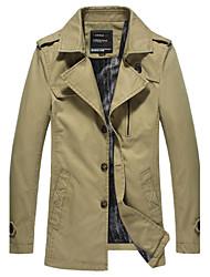 Men's Long Sleeve Long Trench coat , Cotton Pure,Men's warm coat plus thick velvet padded jacket