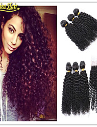 4 Pcs/Lot Malaysian Virgin Hair With Closure Malaysian Human Hair Weave With 1PCS 100% Human Hair Closure In Stock