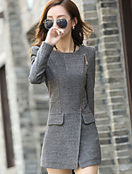 Moon Sunday Women's All Match Winter Solid Color Zip Plus Size Tweed Coat