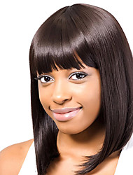 "New Styllish Wig-Super Natural Human Hair  1"" Monofilament Top Straight Capless Wig"