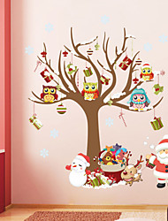 Christmas Wall Stickers Room Decor Cartoon Tree Snowman Santa Claus Reindeer Mural Art Home Decals Posters
