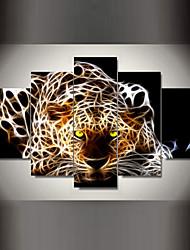 Animal Impressão em tela 5 Painéis Pronto para pendurar , Horizontal