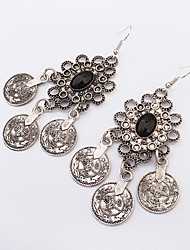 European Style Fashion Flower Small Round Coins Vintage Drop Earrings