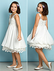 Lanting Bride® Knee-length Chiffon / Lace Junior Bridesmaid Dress - Mini Me A-line V-neck with Lace