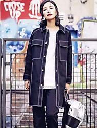 Women's Solid Black Denim Coat , Casual