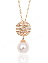 HKTC Vintage Crystal Jewelry 18k Rose Gold Plated Fashion Imitation Pearl Bead Pendants Necklaces