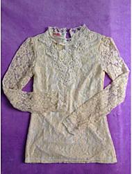 Peach John Women's Long Sleeve Slim Fashion Stand Collar Lace Overcoat