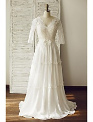 A-line Wedding Dress Sweep / Brush Train V-neck Chiffon / Lace with Lace / Sash / Ribbon