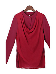Women's Solid Color Red / Green / Purple Tops & Blouses , Casual Stand Long Sleeve
