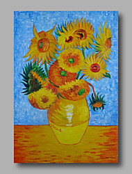 Hand-Painted Abstract Oil Painting Canvas Van Gogh repro Sunflowers Blue Home Deco one Panel