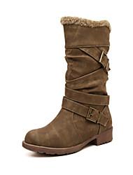 Черный Коричневый Хаки-Женский-Для прогулок-Замша-На низком каблуке-Удобная обувь