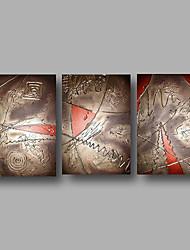 pintura a óleo pintados à mão sobre a arte da parede da lona contempory abstrata marrom vermelho casa deco três painel pronto para