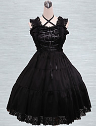 Black Lace Trim Cotton Gothic Lolita Dress