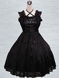 Black Lace Trim Cotton Gothic Lolita Dress