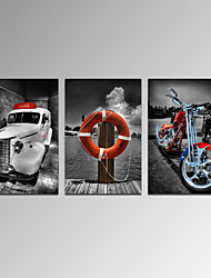 VISUAL STAR®Old Car Picture Printing,red Life Buoy Canvas Printing,modern Electric Motorcar Wall Art Ready to Hang