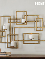 E-Home® Metallwand Kunst-Wanddekor, goldenes Rechteck Leuchter Wanddekor PC einer