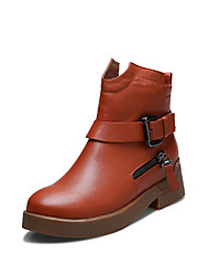 Women's Shoes Leather Low Heel Fashion Boots Boots Outdoor / Office & Career / Casual Black / Brown / Gray