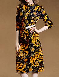 De las mujeres Recto Vestido Tallas Grandes / Vintage / Fiesta / Para Trabajo / Casual Hasta la Rodilla Escote Chino Algodón