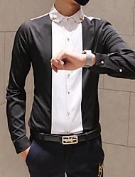 Men's Striped Casual Shirt,Cotton Blend Long Sleeve Black / White