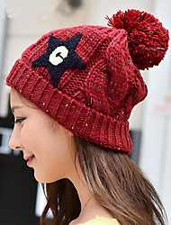 Women Pentacle Wool Big Ball Knitted Hat