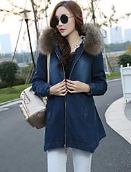 Women's Solid Blue / Black Denim Coat , Vintage