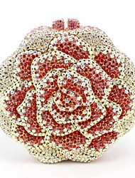 Women's Hot Rose Design Crystal Wedding Purse
