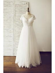 A-line Wedding Dress See-Through Floor-length V-neck Lace Tulle with Button Lace Side-Draped
