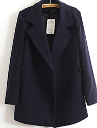 Women's Solid Blue / Green Trench Coat , Casual Long Sleeve Others