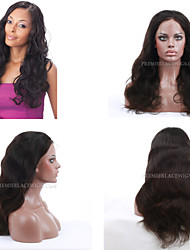 10A Premierwigs 8''-28'' Natural Wave Brazilian Virgin Full Lace Human Hair Wigs Natural Color Soft Lace Front Wigs