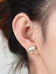 Women's Retro National Wind Simple Elegant Metal Elephant Pattern Earrings