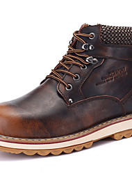 Men's Shoes Outdoor / Athletic / Casual Leather Boots Brown / Red
