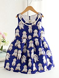 Girl's Fashion Simplicity  Cotton Blend Fall Cartoon Characters Printing Jumper Skirt Princess Dress