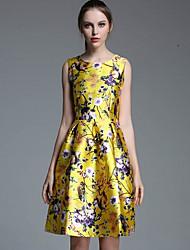 여성의 꽃패턴 드레스 라운드 넥 민소매 무릎길이 면혼방